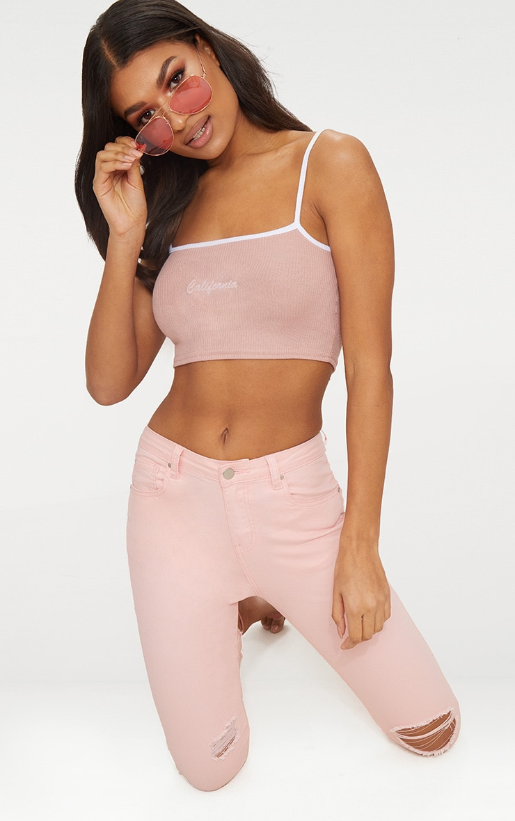 Pink California Rib Slogan Crop Top