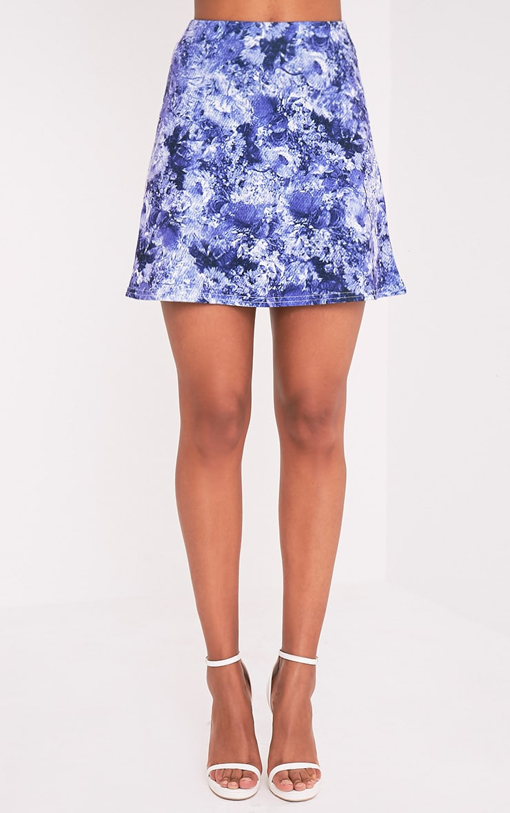 Tamira Blue Oriental A-Line Mini Skirt 2