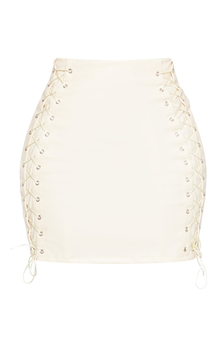 Shape Cream PU Lace Up Bodycon Skirt 3