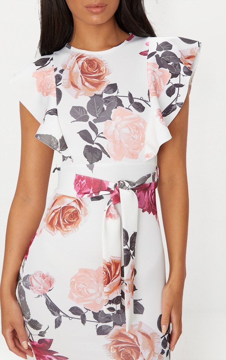 White Floral  Print Frill Detail Midi Dress 5