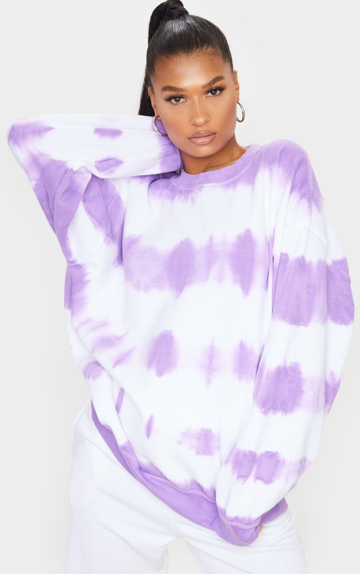 Purple Oversized Tie Dye Sweatshirt