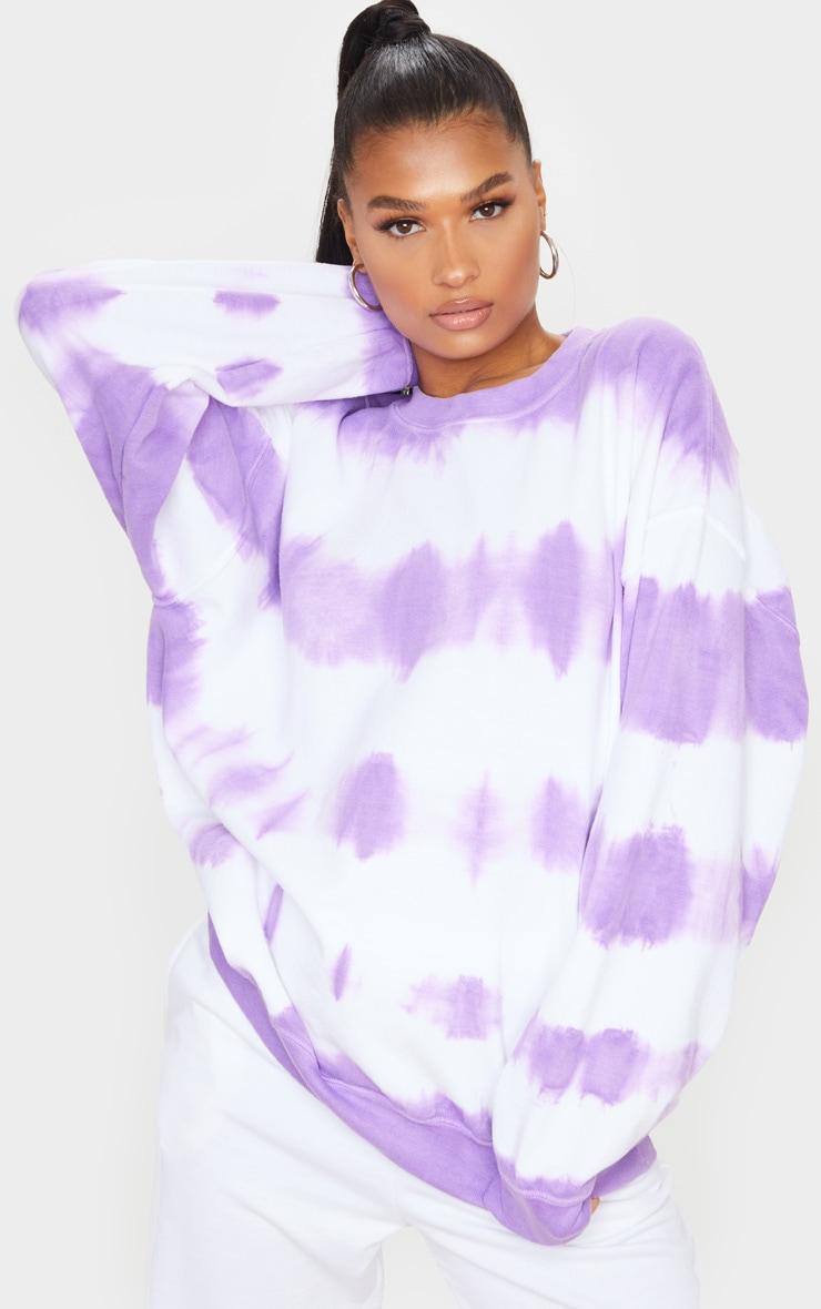 Purple Oversized Tie Dye Sweatshirt
