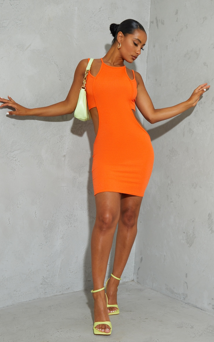Orange Ribbed Multi Strap Cut Out Bodycon Dress 1