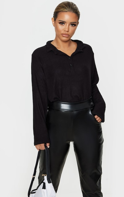 Petite Black Long Sleeve Brushed Rib Polo Top