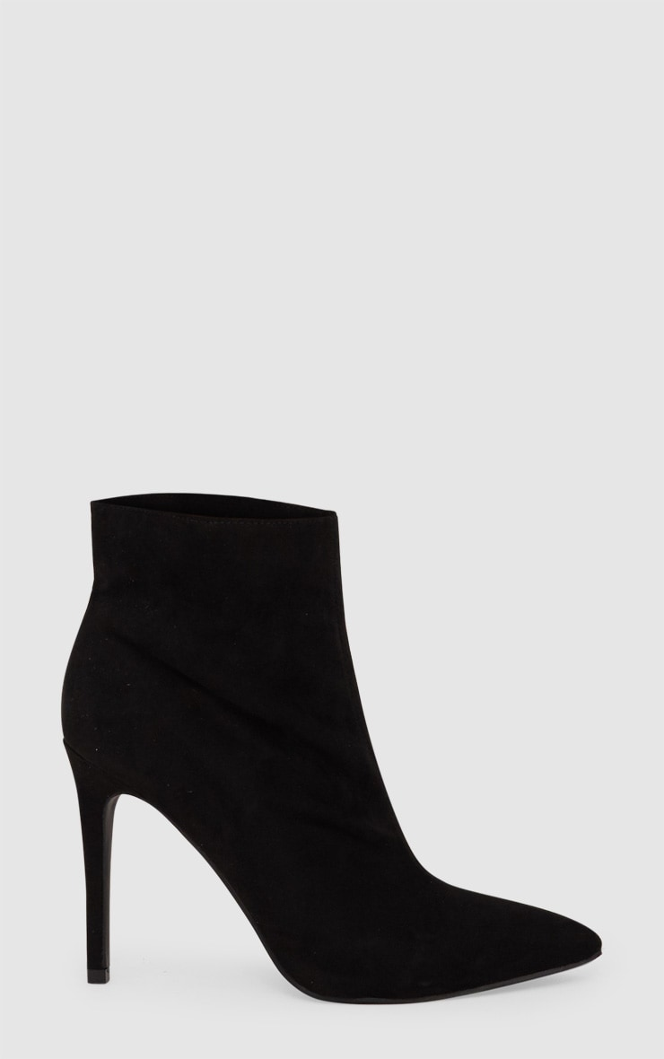 Faux Suede Heeled Black Ankle Boot 3