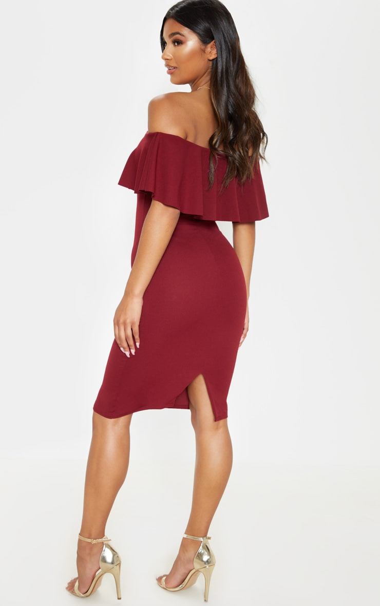 Celinea Burgundy Bardot Frill Midi Dress 2