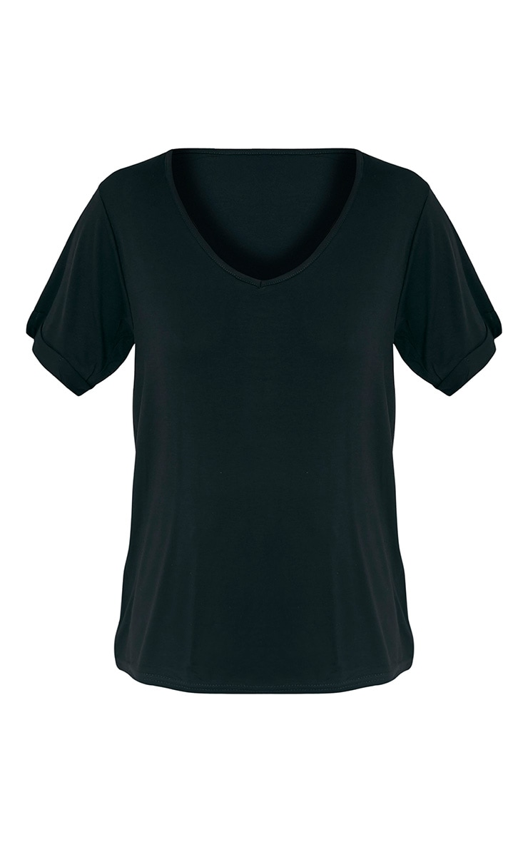 Basic Black V-Neck Roll Sleeve T-Shirt 3