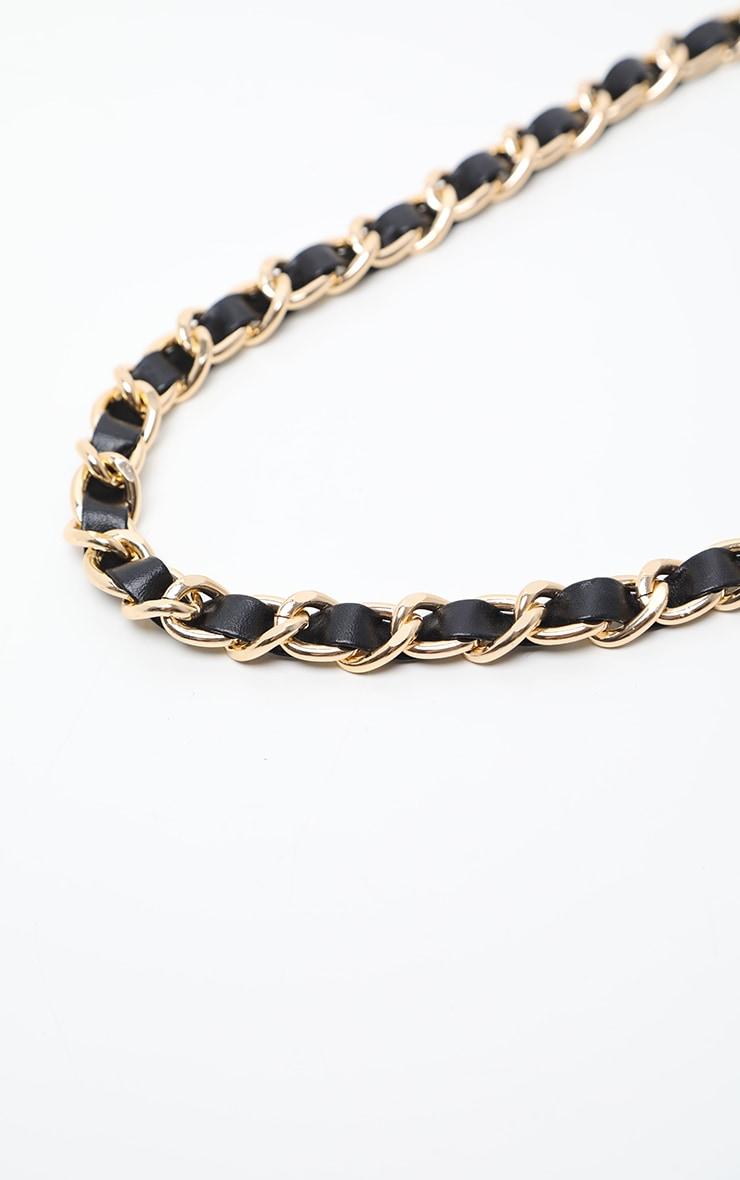 Gold With Black PU Chain Belt 2