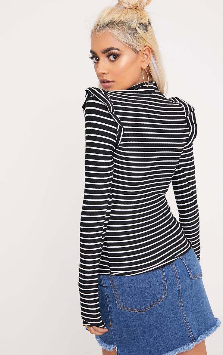 Zooey Black Stripe Frill Long Sleeve Top 2