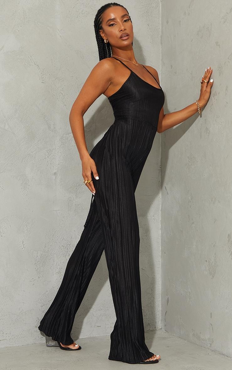 Black Plisse Lace Up Back Jumpsuit 3