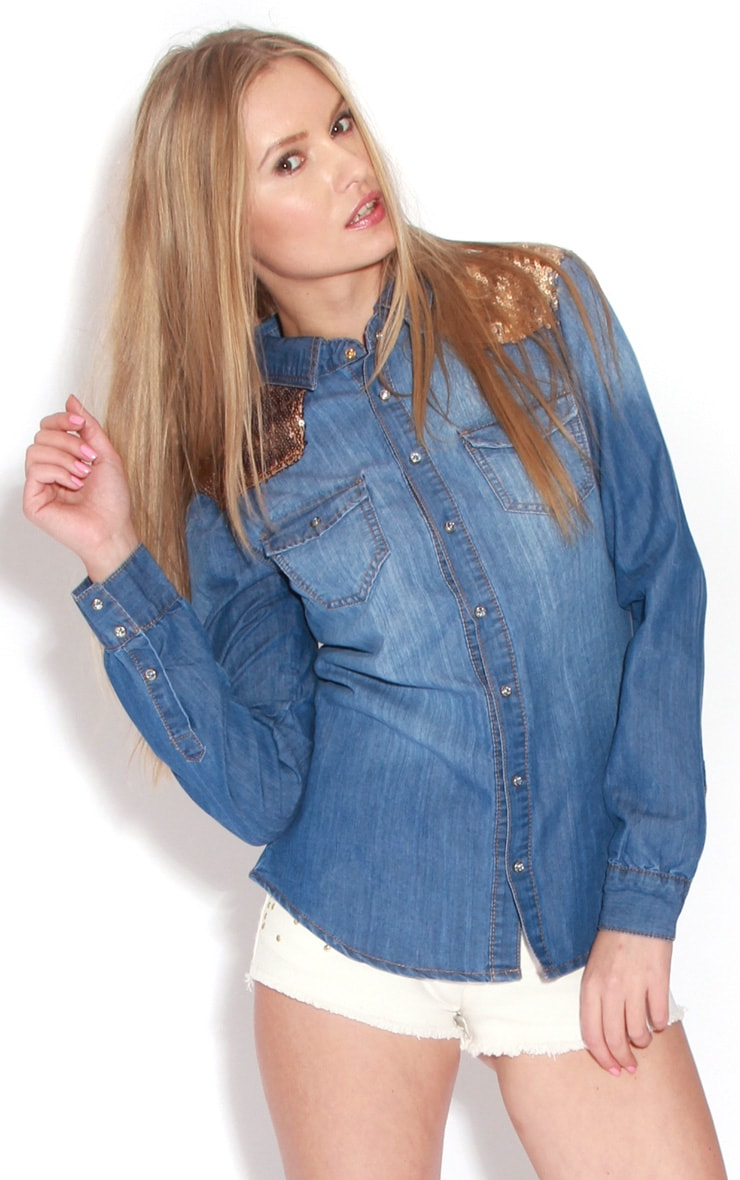 Joan Denim Sequin Shoulder Shirt  1