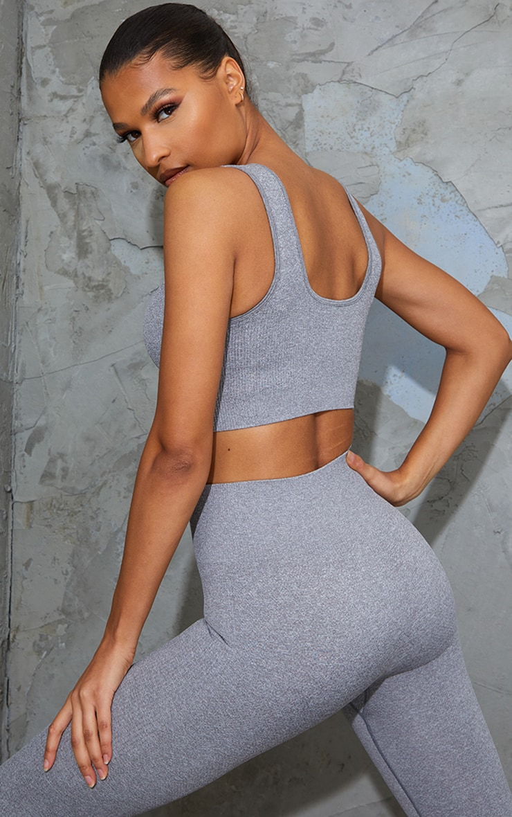 Grey Textured Seamless V Neck Cropped Sports Top 2