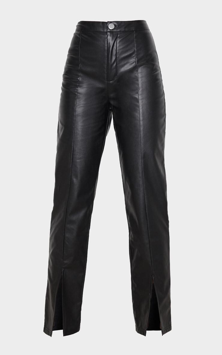 Pantalon en similicuir noir à ourlet fendu 3