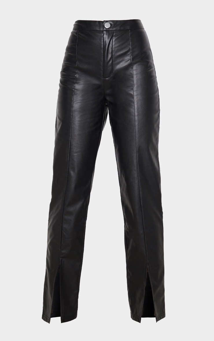 Black Faux Leather Split Hem Pants 3