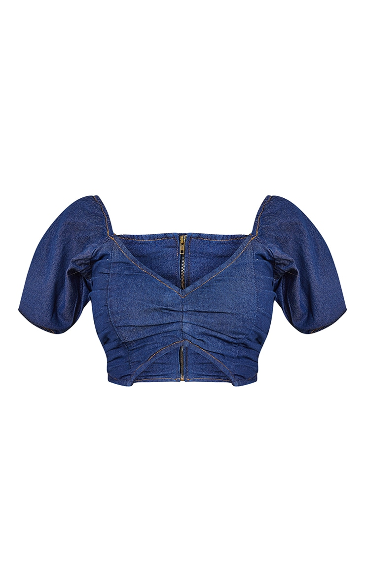Dark Blue Wash Ruched Detail Puff Sleeve Denim Crop Top 5