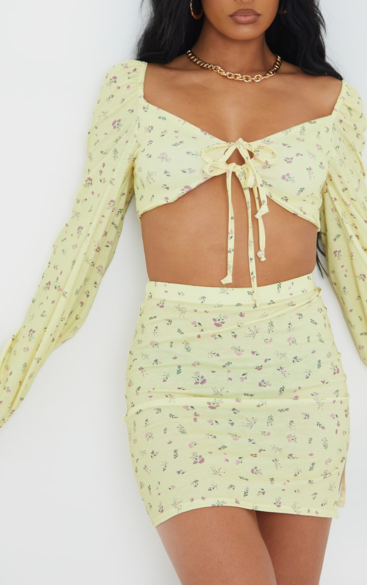Yellow Ditsy Floral Print Tie Front Balloon Long Sleeve Crop Top 4