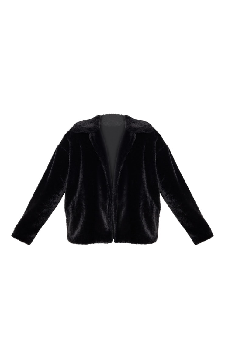 Black Oversized Faux Fur Jacket 3