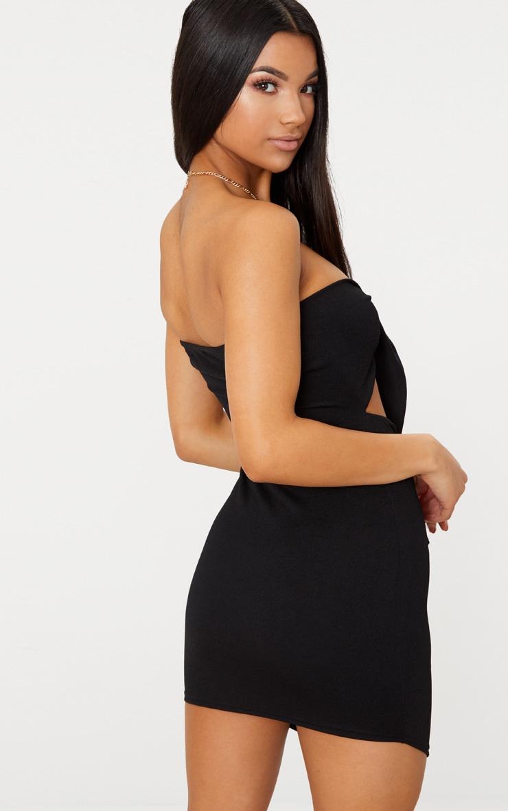 Black Tie Detail Pointy Hem Bodycon Dress 2