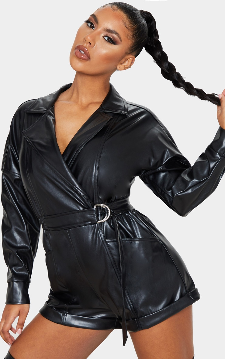 Black Faux Leather Biker Style Playsuit 4