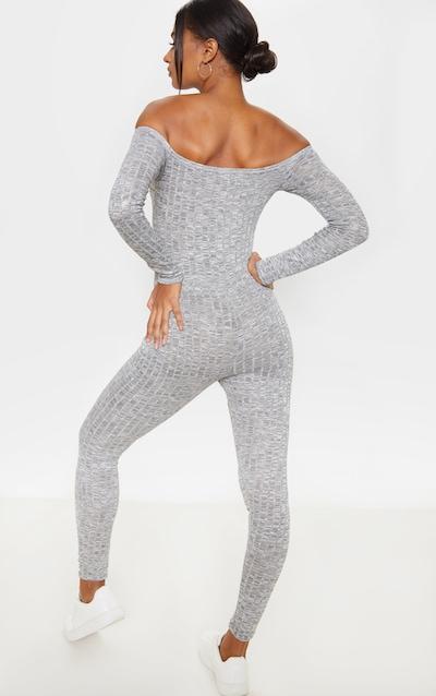 Light Grey Rib Knitted Bardot Jumpsuit