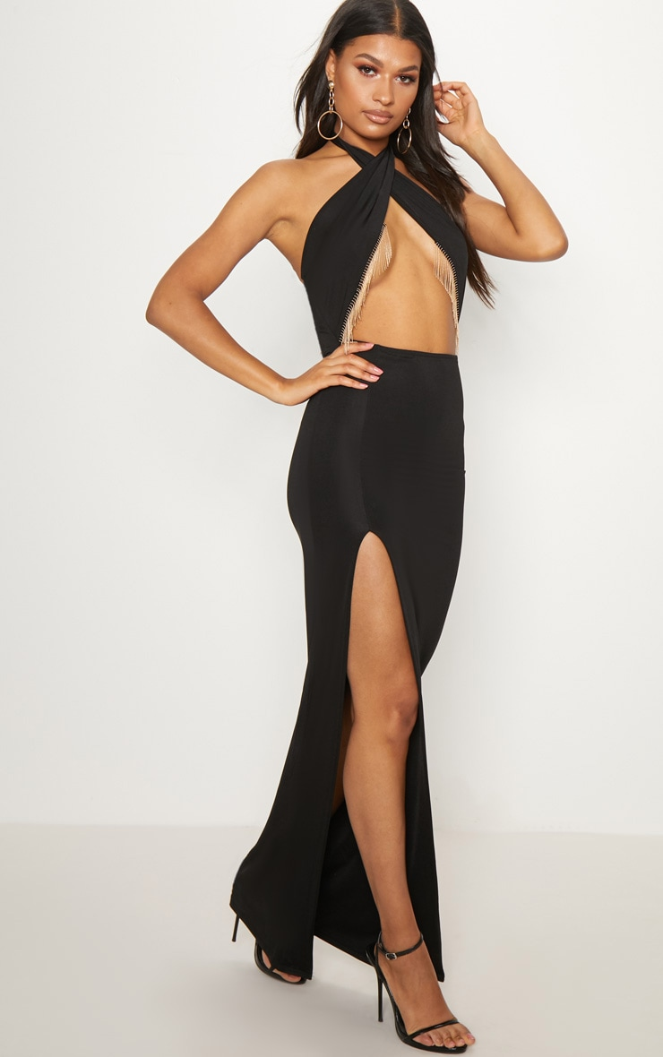 Black Halterneck Chain Trim Maxi Dress 4