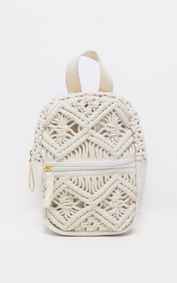 Natural Macron Cotton Mini Backpack 2