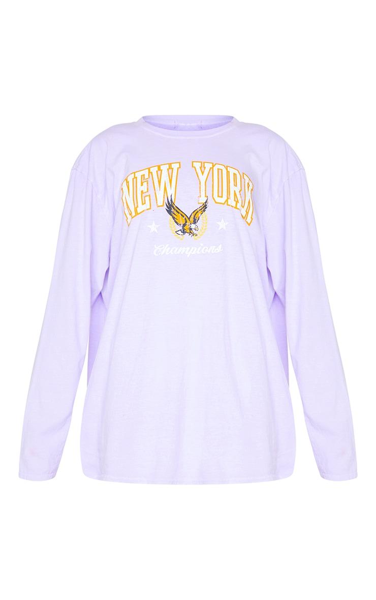 Purple New York Champion Washed Long Sleeve T Shirt 5