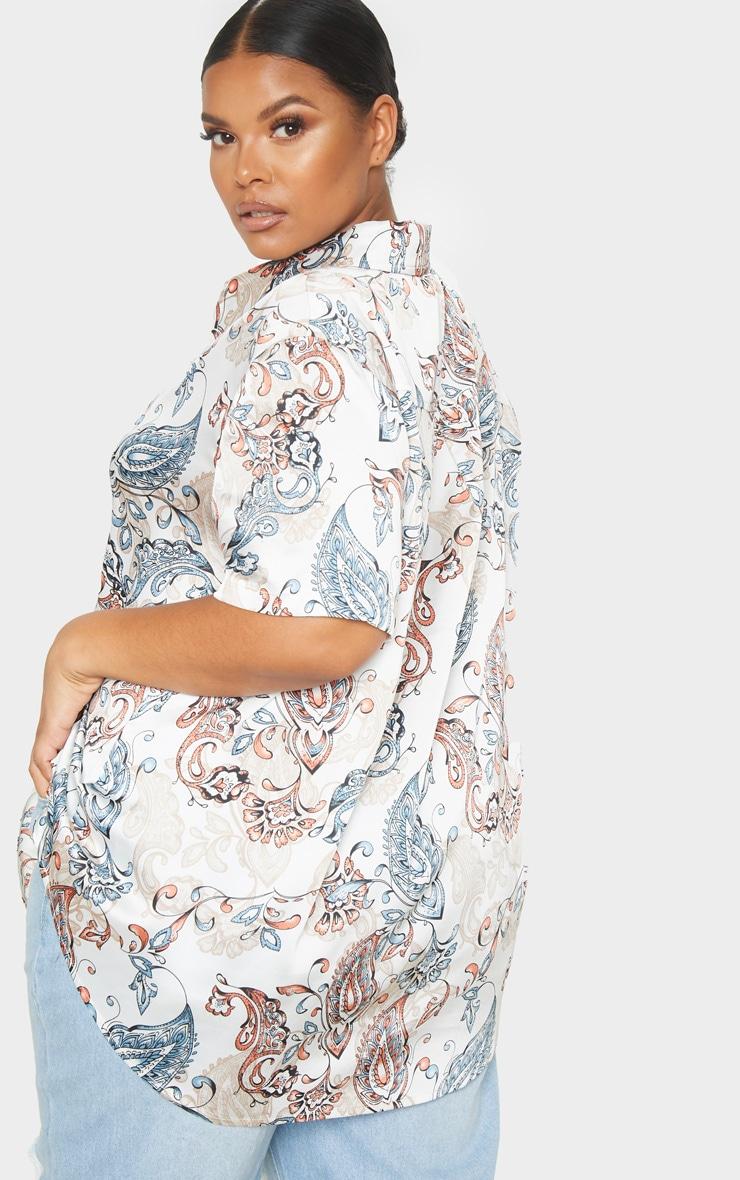 Plus Cream Paisley Print Oversized Short Sleeve Shirt  2