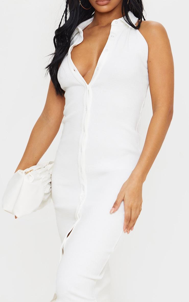 White Rib Button Down Sleeveless Midi Dress 4