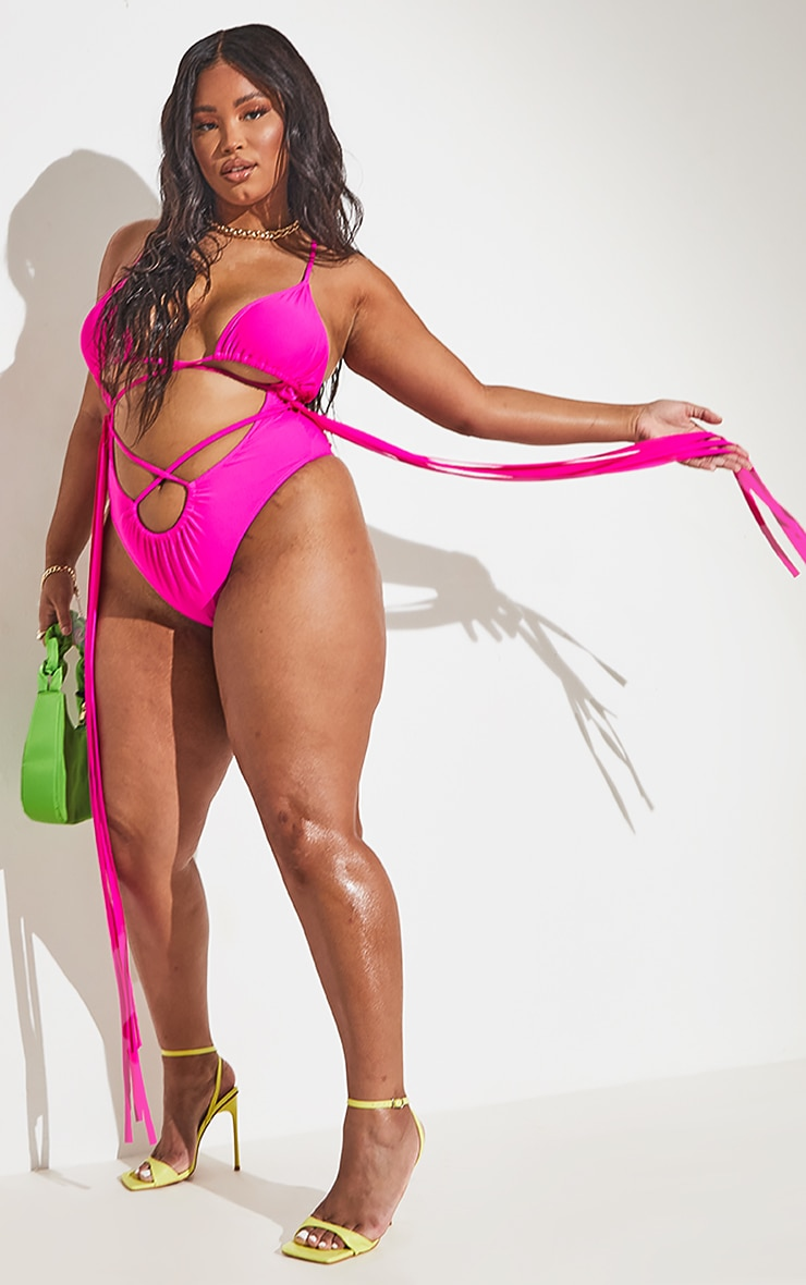 Plus Hot Pink Wrapped Strappy Tassel Side Swimsuit 6