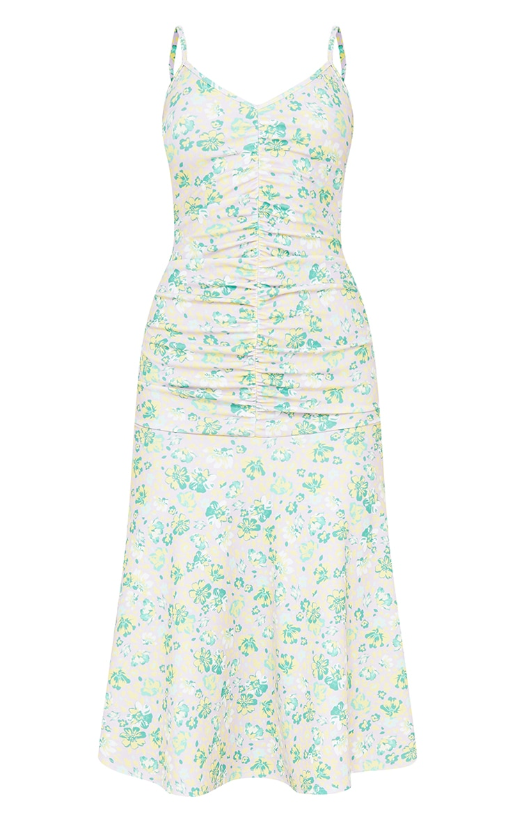 Lilac Floral Print Strappy Ruched Flare Hem Midi Dress 5