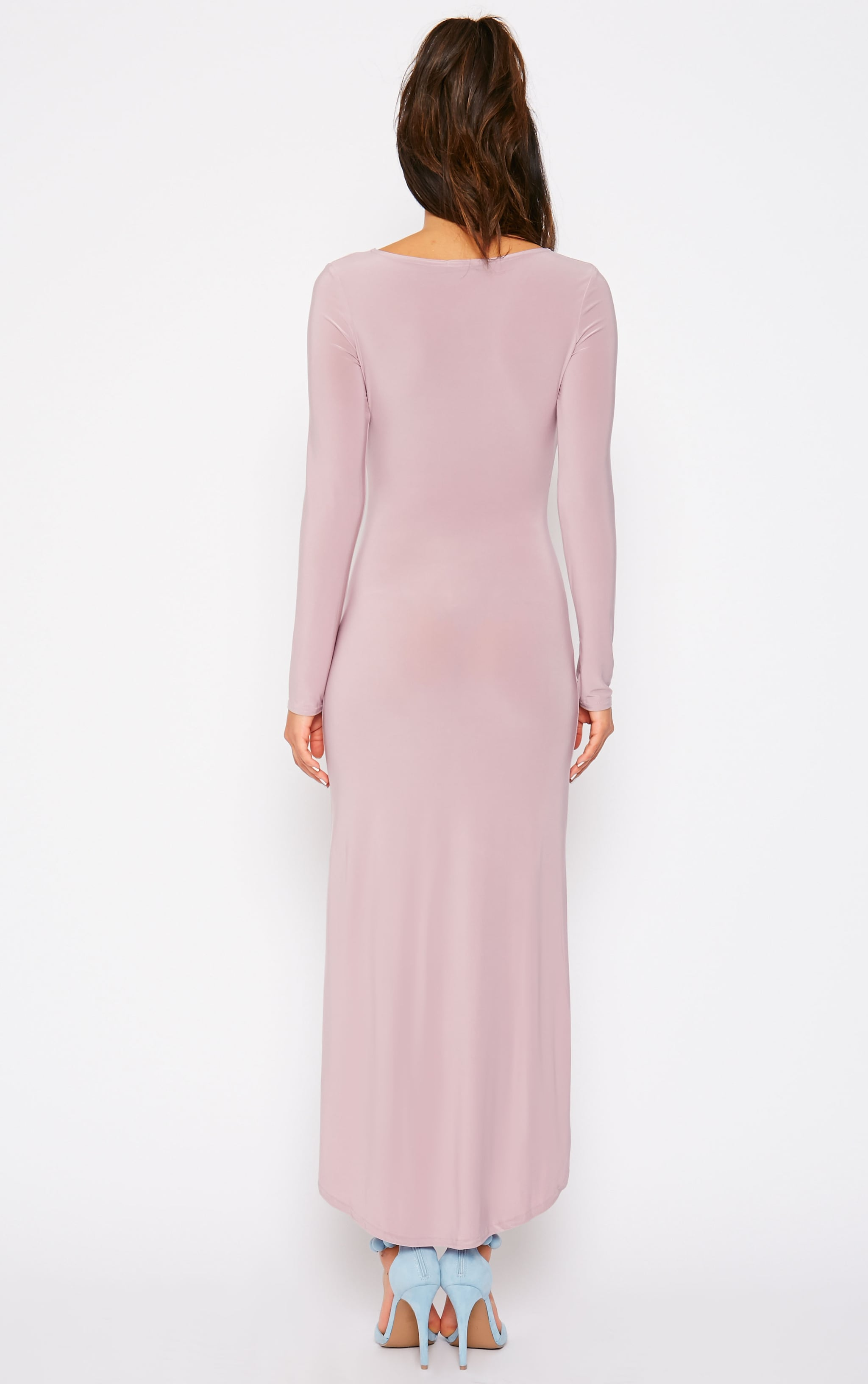 Fearne Mauve Slinky Dip Hem Dress 2