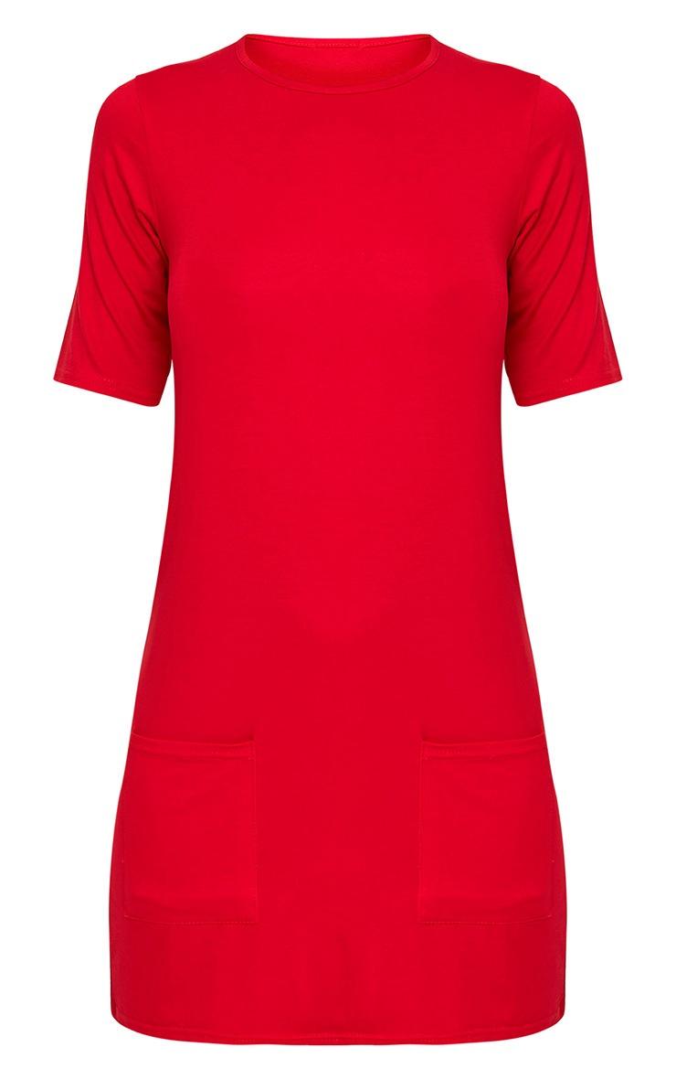 Basic robe t-shirt rouge à poche 3