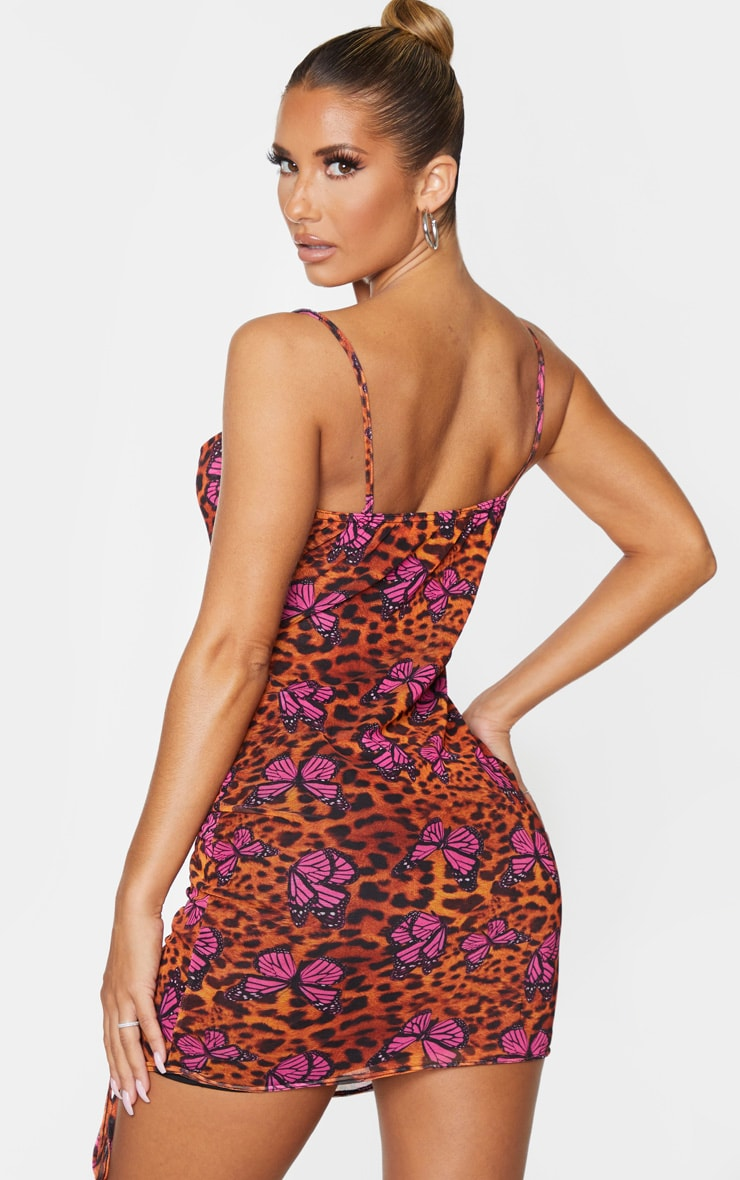 Tan Leopard Butterfly Print Strappy Ruched Tie Hem Bodycon Dress 2