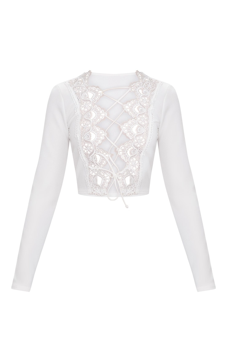 White Lace Up Front Long Sleeve Crop Top  3