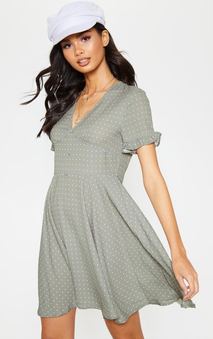 Sage Green Crinkle Polka Dot Button Tea Dress 1
