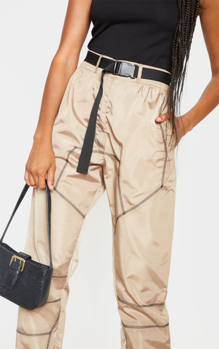 Stone Contrast Stitch Belted Shell Jogger 5