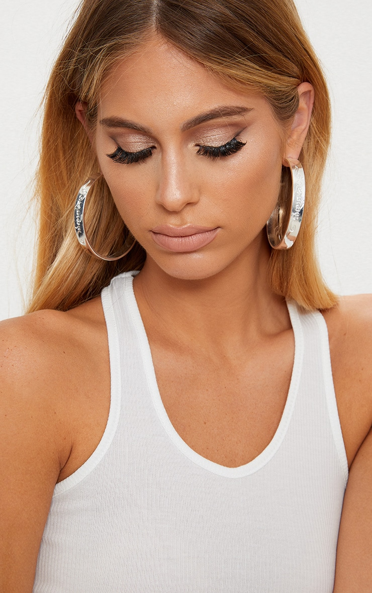 Silver Script Chunky Hoop Earrings 1