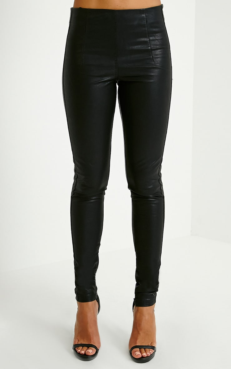 Lahra Black Faux Leather Trousers 2