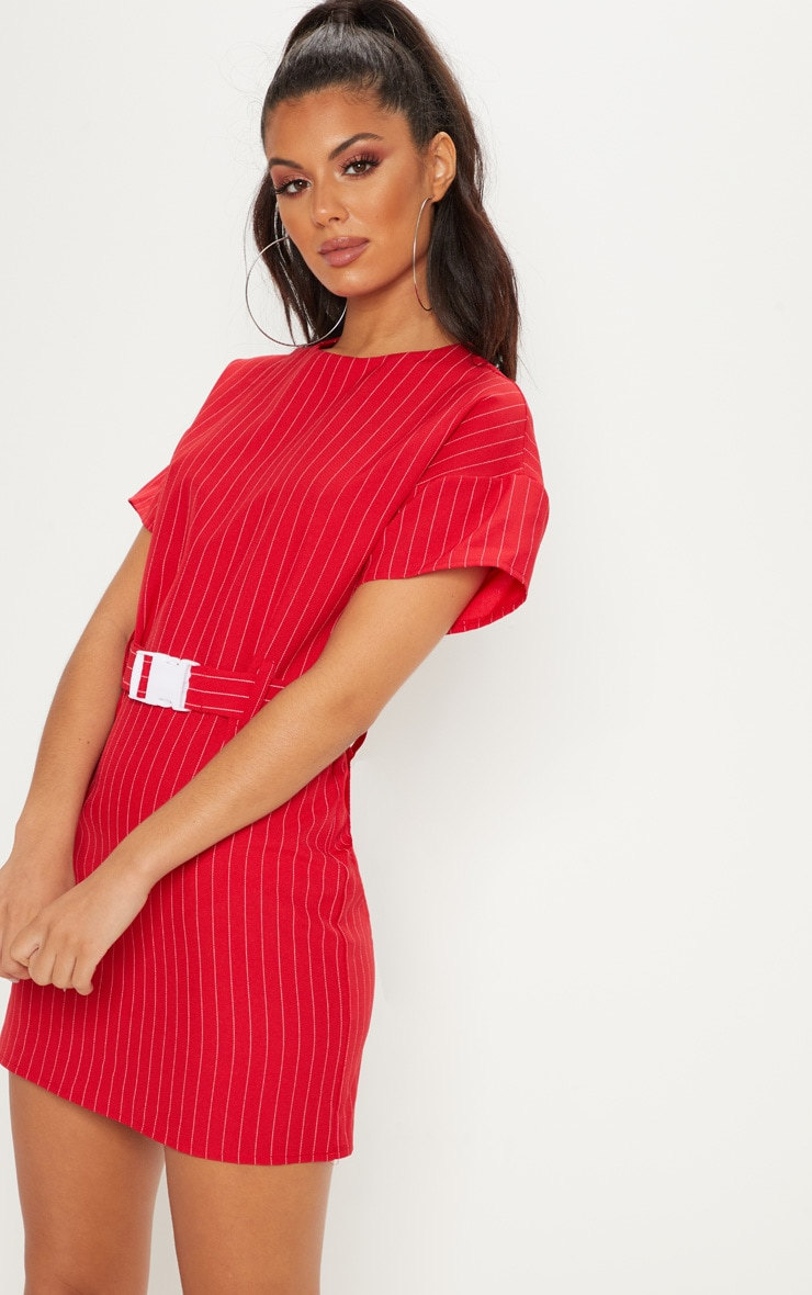 Red Pin Stripe Belt T Shirt Dress 5