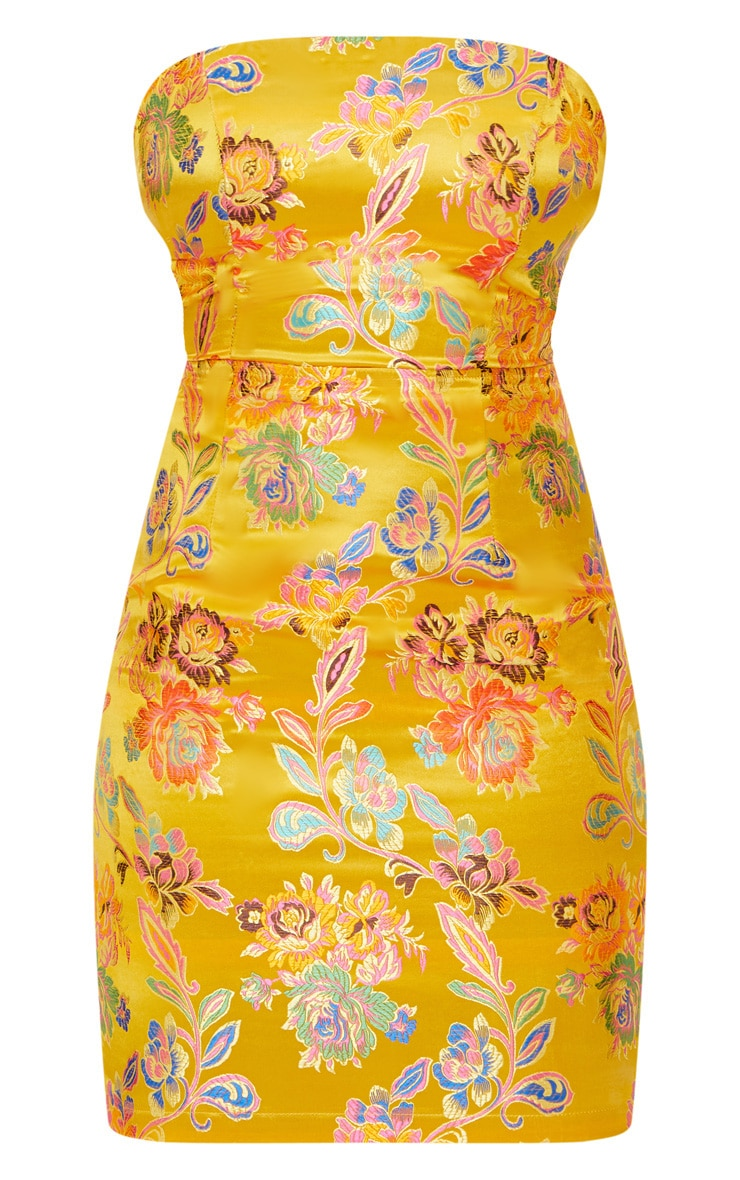 Mustard Oriental Satin Bandeau Lace Up Back Bodycon Dress  3