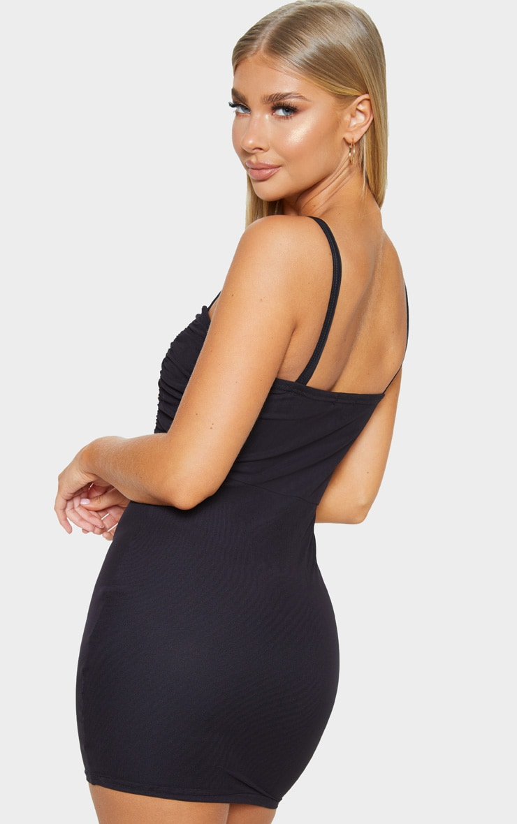 Black Sleeveless Ruched Bust Mesh Bodycon Dress 2