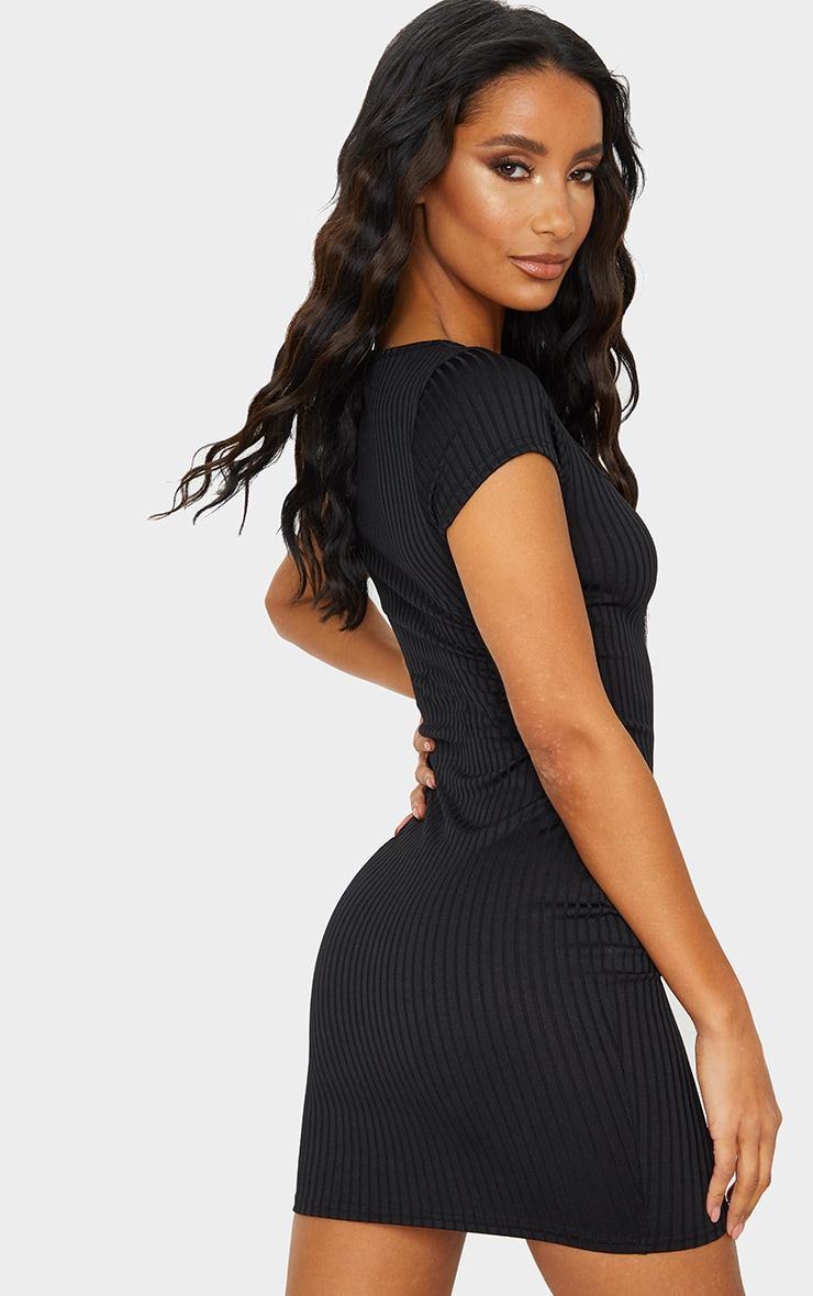 Black Butterfly Embroidery Rib Square Neck Bodycon Dress 2