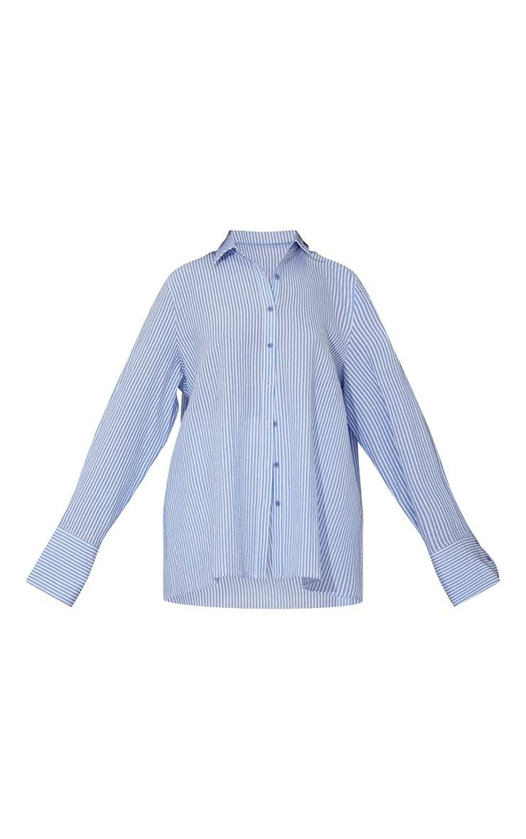 Tall Blue Stripe Oversized Cuff Shirt 5