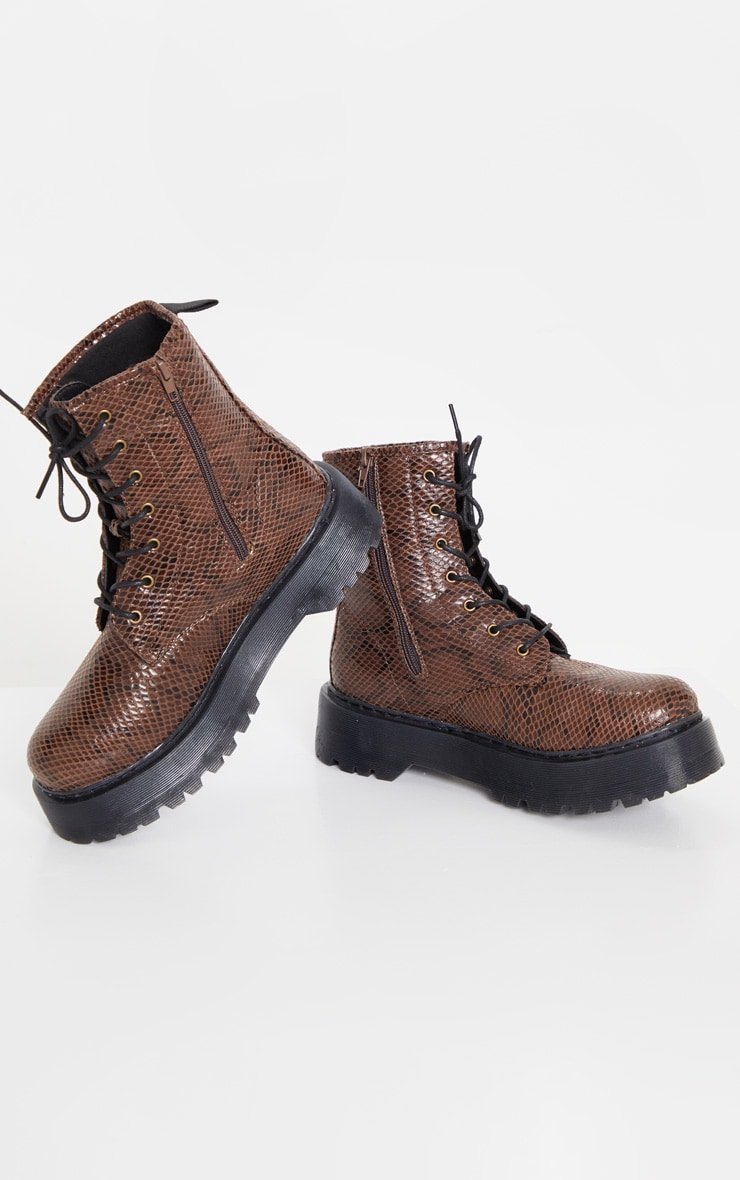 Brown Snake Wide Fit Chunky Sole Lace Up Ankle Boot 1