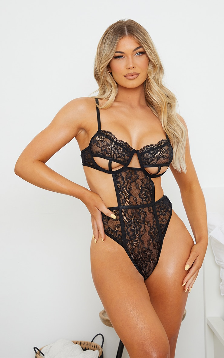 Black Lace Underwired Cut Out Cup Detail Body 1