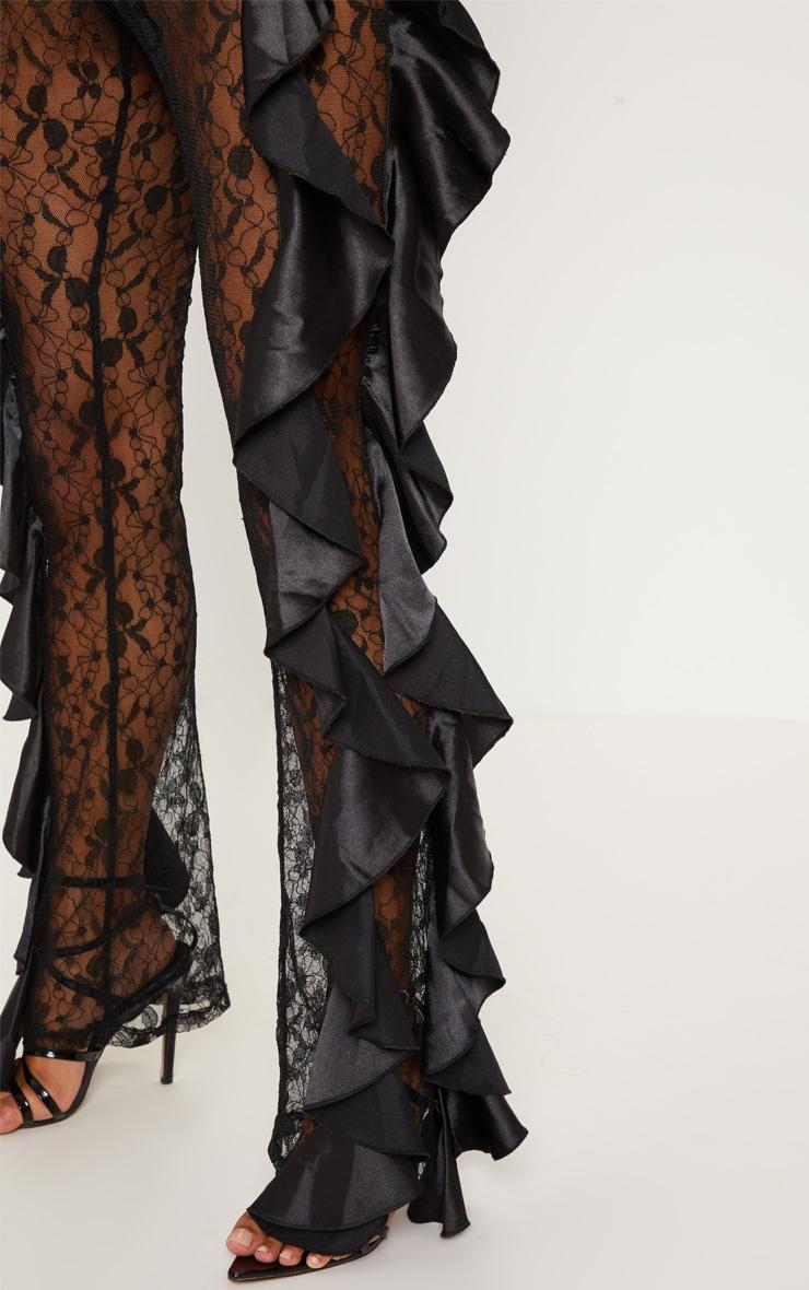 Black Lace Ruffle Detail Flare Leg Trouser 5