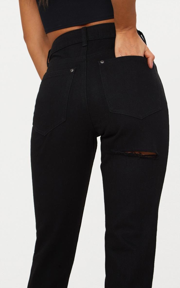 Black Bum Rip Straight Leg Jean 5