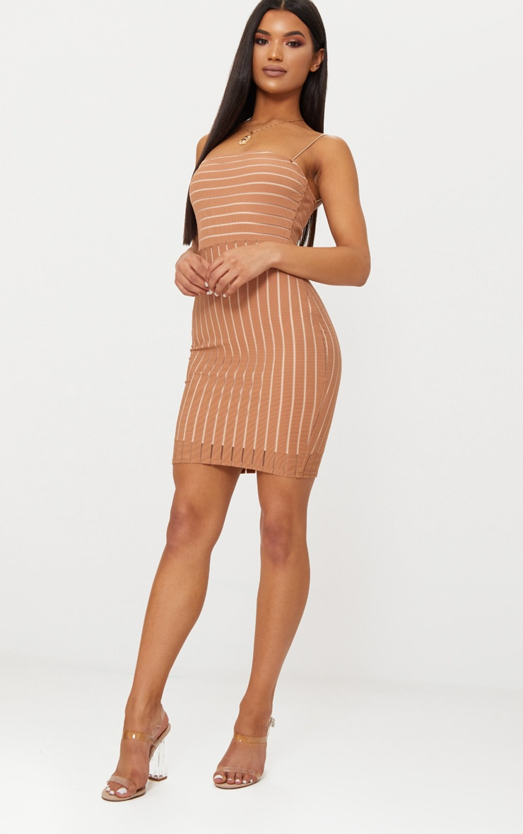 Tan Striped Mesh Strappy Bodycon Dress 3