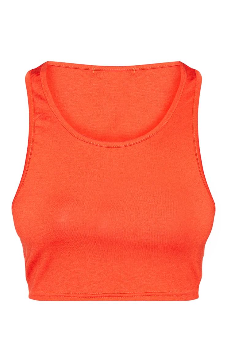 Basic Orange Jersey Scoop Neck Vest Top 3
